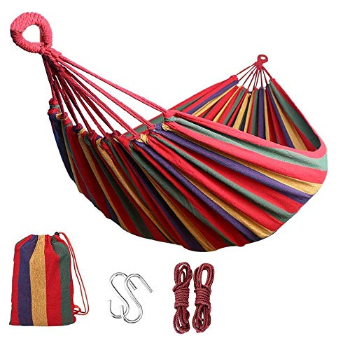Single/Double Outdoor Garden Camping Hammock,1/2 Person Hammock Cotton Soft Swing Sleeping Portable with Carrying Bag for Patio Yard Garden Backyard Porch Travel (Double /260 * 150/RED)