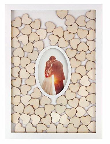Spetebo - Libro degli ospiti con cornice portafoto e 72 cuori in legno da scrivere, libro degli ospiti per matrimonio