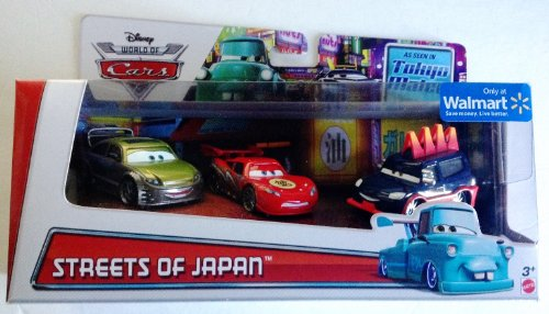 Disney World of Cars, Toon, Streets of Japan Set (Dragon McQueen with Oil Stains, Kaa Reesu, and Yokoza), 1:55 Scale by Mattel