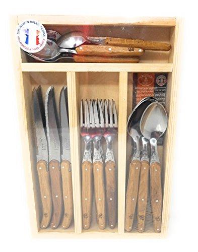 Jean Dubost 24 Piece Flatware Set with Oak Handles