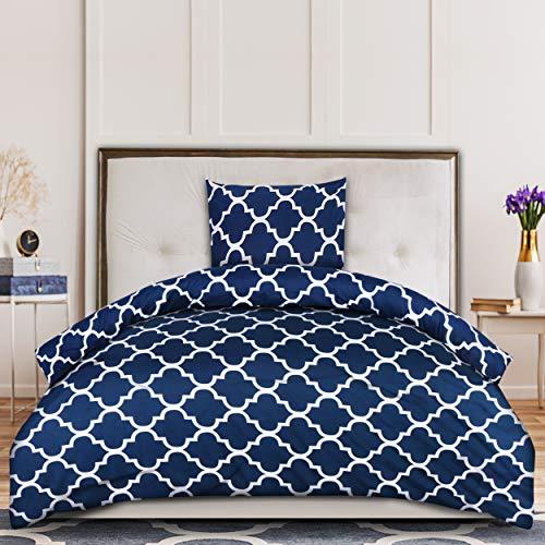 Utopia Bedding Housse de Couette 135x200 cm avec 1 Taie d'oreiller 80x80 cm - Bleu Marine Parure de Lit 1 Personne - Sets de Housse Couette en Microfibre