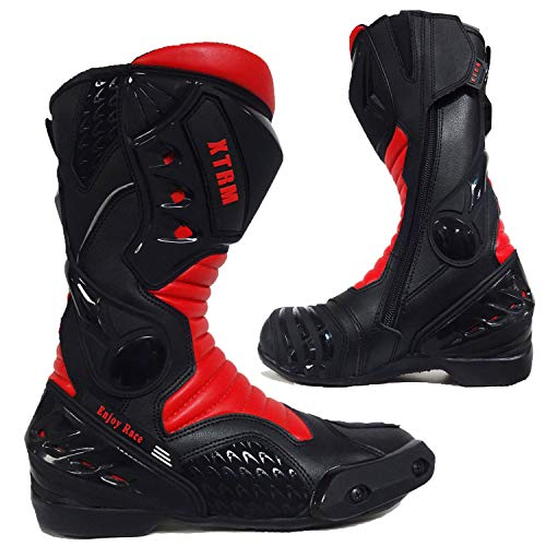 MOTORRADSTIEFEL XTRM CORE TOURING RACING SPORTS ALLROUND STIEFEL ALLE NEU FARBE (ROT, 43)