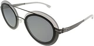 ic! Berlin Cancan Ash-Quartz Plastic Round Sunglasses Quicksilver Lens