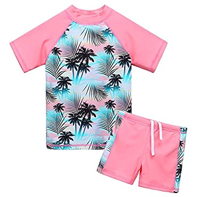 BAOHULU Girls Swimsuit Two Piece Tankini UPF 50+ UV Protective Rash Guard Set 3-12 Years (9-10Y(Tag.No 12A), GreenPink)