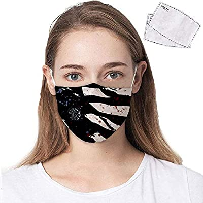 COOLINKO American Flag Face Covering with 2 Activated Carbon PM2.5 Filter Valve and Adjustable Elastic Band - Washable Reusable Fashion Cotton Mouth Head Accessory Mask from COOLINKO