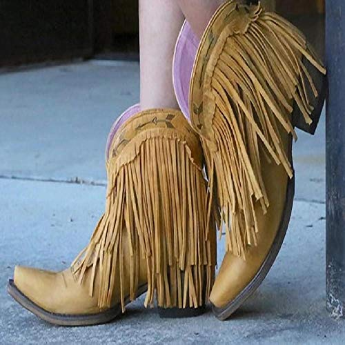 LUXDAMAI Western Cowboystiefel Frauen Spitzen Zehen Reiten Ritterstiefel GroßE Stiefelette Mit Fransen Lässige Bequeme Wanderschuhe Mit Niedrigem Absatz,Yellow-40