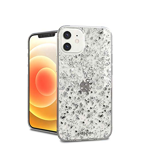 i-Paint Funda Protectora para iPhone 12 Mini 5,4 Pulgadas, Plata con Purpurina...