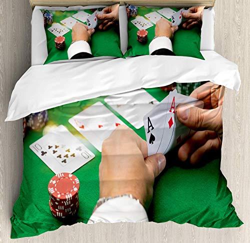 Juego de funda nórdica de póker, imagen de patrón de...