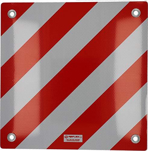Cartrend 10615 Warntafel Italien Warnschild hinten Aluminium 50 x 50 cm reflektierend rot-weiß Heckträger/Fahrradträger für Auto,Camping