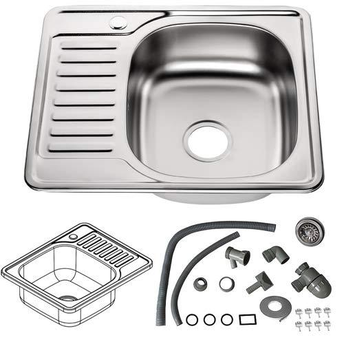 Melko Einbauspuele Edelstahl Abwaschbecken Küche rund Einbauspülbecken inkl. Ablaufgarnitur und Siphon