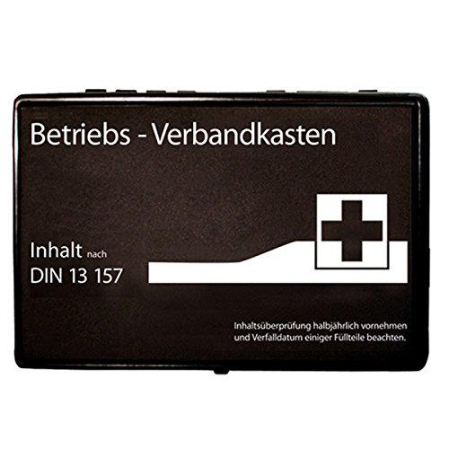 Premium-Verbandskasten-Wandhalterung, Betriebs-Verbandskasten gefüllt nach DIN 13157, Rot-Kreuz-Erste-Hilfe-Wandmontage, Farbe:schwarz