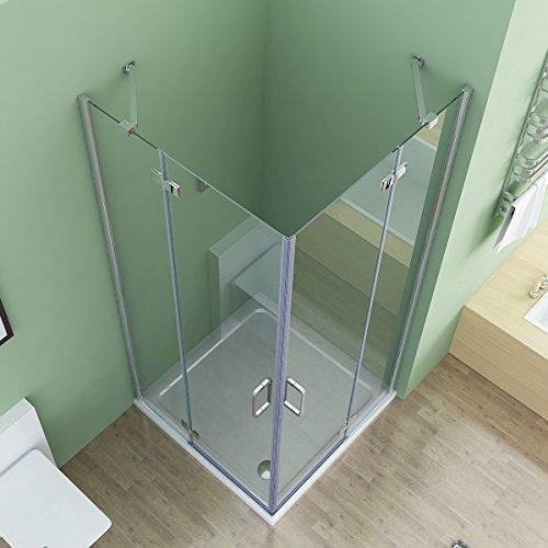 90x90x195 cm Duschkabine Eckeinstieg Dusche Falttür Duschwand Duschabtrennung NANO Glas mit Duschwanne Duschtasse