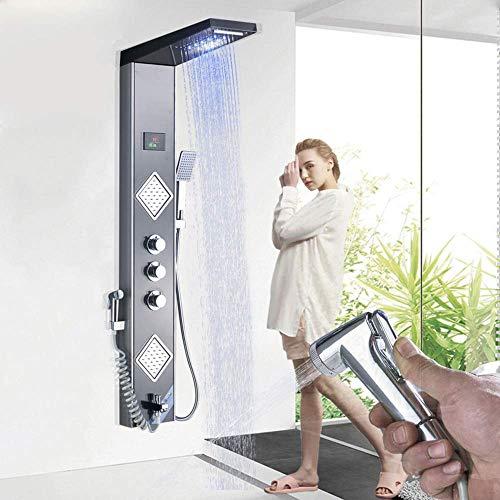 Onyzpily LED Duschpaneel Edelstahl Mit Temperaturanzeige Und 2 Massagedüsen Duschsystem Regendusche Wasserfall Mit Handbrause Duschsäule Für Badezimmer