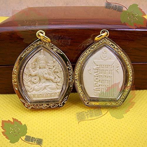 CHOUCHOU Halskette Ohrringe Schmuck Set Kette Aschenamulettanhänger Manjushri tantrische tibetische tantrische buddhistische Statuen wischten gebürtiges Buddha-Amulett ab