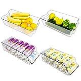 [2+2 Cajas] Puricon Organizador de Latas, Cajas de Almacenaje de Refrigerador Neveras para Casa para Almacenamiento de Bebidas, Frutas, Verduras, Aperitivos
