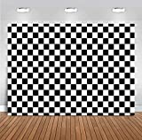 Checkered Backdrops Photography Vinyl Racing White and Black Checker Flag Pattern Party Banner Wall Home Decoration Chess Board Photo Backgrounds Birthday Supplies Photobooth Props 5x3ft