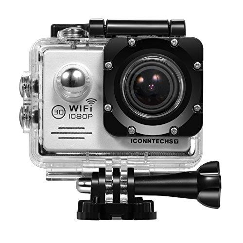 ICONNTECHS IT Action Cameras C2 Sport Action Camera, Full HD 1080P, Impermeabile, Lente Grandangolo 170°, Videocamera WiFi HDMI, Argento