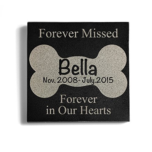 Personalized Memorial 6 x 6 Granite Dog Memorial