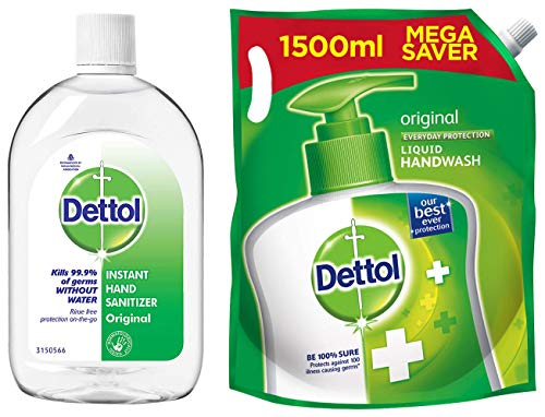 Dettol Original Germ Protection Alcohol based Hand Sanitizer, 500ml & Dettol Original Handwash Liquid Soap Refill, 1500ml