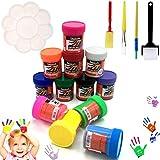 OCEANO 12 ×50MLI Botes Pintura de Dedos para niños, Pintura de Dedos,Lavable Pinturas para niños no tóxicas, de Color Natural y ecológico,Incluido: Cuatro Pinceles, una Paleta