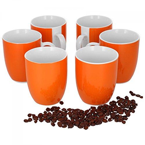 Van Well 6er Set Kaffeebecher Serie Vario Porzellan - Farbe wählbar, Farbe:orange