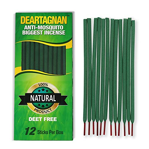Mosquito Incense Repellent Sticks with Natural Ingredients Citronella, Lemongrass and Rosemary Oil Non Toxic and DEET Free. Anti- Mosquitos Repellent Incense Sticks use Outdoor