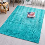 PAGISOFE Soft Fluffy Blue Area Rugs for Bedroom Kids Room Living Room Carpet Shag Furry Fur Rug for Boys Girls Dorm Room Modern Plush Decorative Nursery Rugs Solid Accent Floor Rugs 4'x 5',(Blue)