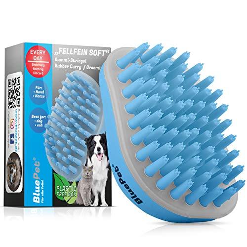 Bluepet® FellFein Soft Gummistriegel für kleine Hunde & Katzen mit Massageeffekt | Entfernt Loses...