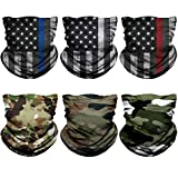 NTBOKW Neck Gaiter Face Mask for Men Women Bandana Face Mask Headband Headwear Gaiter Mask Seamless Face Cover Scarf Mask Breathable Outdoor Wind Sun Dust Protection (Flag Camo 6 Pack Multicolor 55)