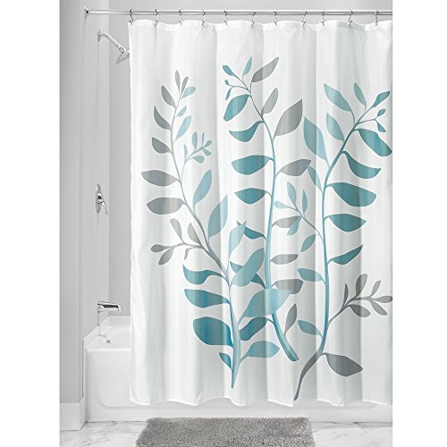 iDesign Laurel Fabric Polyester Shower Curtain, 72' x 72' - Gray/Blue