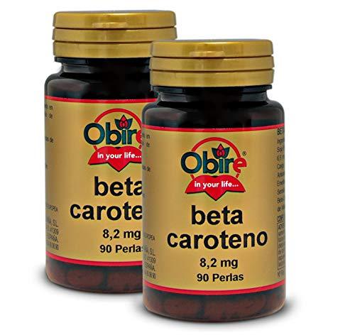 Obire | Beta-Caroteno 8,2 mg | Suplemento Alimenticio Para Piel Seca | Protección Solar de la Piel | Favorece la Absorción de Hierro, Mantenimiento de la Piel y la Visión | 90 Perlas | Pack 2 Unidades
