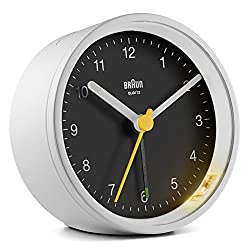 Braun clock-BC12WB Classic Analogue Clock with Snooze and Light, Quiet Quartz Movement, Crescendo Beep Alarm in White and Black, Model BC12WB, us:one Size