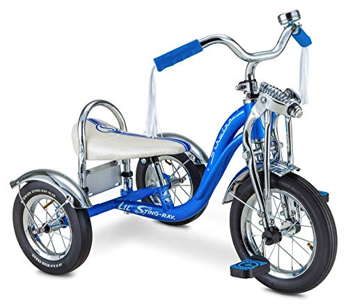 Schwinn Lil' Sting-Ray Super Deluxe Tricycle for Kids 2-4 Years Old, 12' Front Wheel, Blue