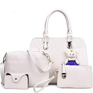 LHKFNU 4PCS/Set Women Lady Leather Shoulder Bag Handbag Satchel Clutch Coin Purse Cute Pendant Crossbody