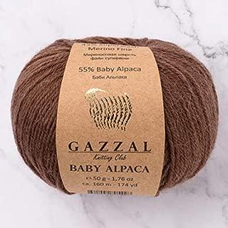5 Skein (Pack) Total 8.8 Oz. Gazzal Baby Alpaca Each 1.76 Oz (50g) / 174 Yrds (160m) Soft, 2 : Fine-Sport, 55% Baby Alpaca 45% Superwash Merino Fine, Brown - 46002
