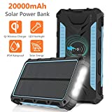 Solar Charger 20000mAh, Qi Wireless Portable Solar...