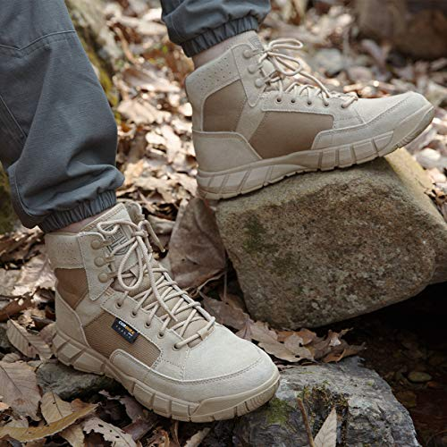 FREE SOLDIER Men's Tactical Boots 6 Inches Summer Lightweight Breathable Desert Boots with Thin Durable Fabric (Tan, 10)