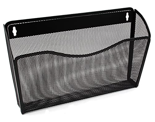 Ybm Home Single Pocket Office Mesh Collection Wall Mount Hanging File Holder Organizer Vertical Wall File Rack for School Home or Office (1, Black (1-Pack))