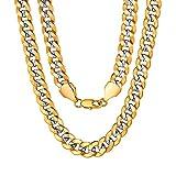 ChainsPro 10MM Collier en Plaqué Or 18k pour Hommes Femmes Hippop Chaîne Maille Gourmette Grosse Chaîne Bicoloré en...