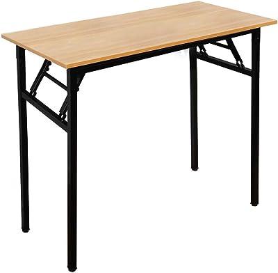 sogesfurniture Bureau Pliant 80x40cm Table Compact pour Ordinateur Postes de Travail Table d'étude Table à Manger Pliable pour Petits Espaces, Teck & Noir BHEU-AC5BB-8040