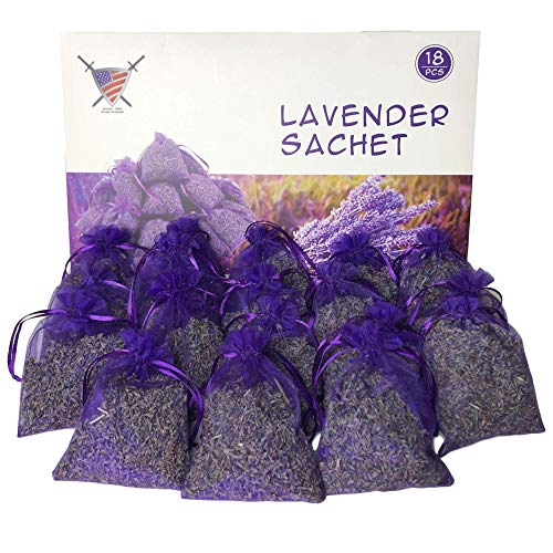 Armour Shell Lavender Sachets - Dried Lavendar Flower Sachet Bags (18 Pack) for Home Fragrance and Long-Lasting Fresh Scents, Natural Moths Away for Clothes Closets. Protect & Defend Clothing.