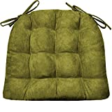 Microsuede Laurel Green Dining Chair Pad with Ties - Size Extra-Large - Reversible, Latex Foam Filled Cushion, Machine Washable - Microfiber Ultrasuede ( Sage / XL )