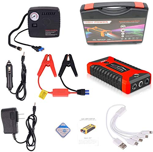 Preisvergleich Produktbild Multifunction Car Jump Starter,  Portable Emergency Charger Battery Power Bank Car Booster Starter Waterproof for Instant Power of Car SUV Motorcycle-Red / / 20000mAh