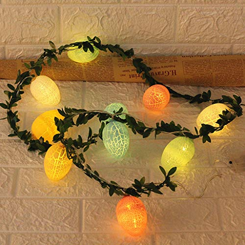 Easter Night Light Decorative Lights, 1.65 m / 5.4 ft 10 LED Easter Eggs Green Vine Copper Wire Fairy Lights Battery Operated for Easter Show Bedroom Wall Balcony Garden DIY Home Decor (1.65 m -