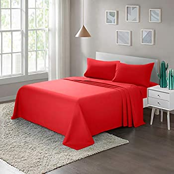 ARTALL Soft Microfiber Bed Sheet Set 3-Piece with Deep Pocket Bedding - Twin Red