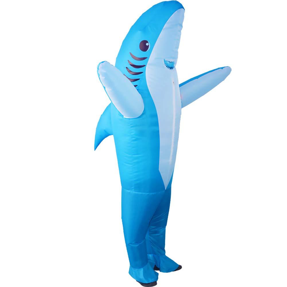 HUAYUARTS Inflatable Halloween Jumpsuit Shark Blue Adult