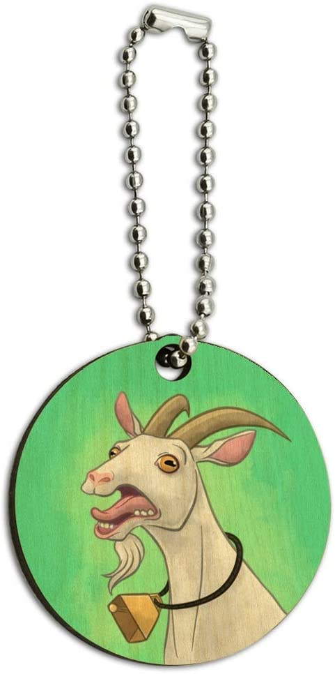 Screaming Goat Wood Max 42% OFF Wooden Round Chain Keychain Key Ring Same day shipping