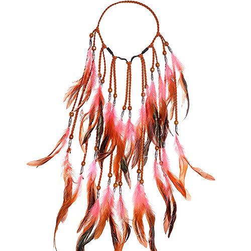 Feder Kopfschmuck Boho Hippie Stirnband, MZSM Fancy Indianer Stirnband Federschmuck Böhmische Kopfbedeckung Quaste für Damen/Mädchen Festival Abendkleider Karneval (Rosa)