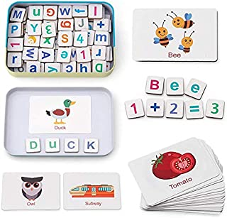 HOOME Magic wood Letter puzzles, Fridge Magnets ABC Alphabet Word Flash Cards Preschool Spelling Counting Game Learning Up...