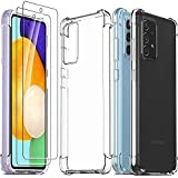 Ferilinso Funda para Samsung Galaxy A52 4G&5G/ A52s 5G + 2 Piezas Cristal Templado Protector de Pantalla [Transparente TPU Carcasa] [10X Anti-Amarilleo] [Anti-Choque] [Anti-arañazos] [9H Dureza]